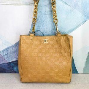 Vintage Chanel Beige Leather Tote Bag